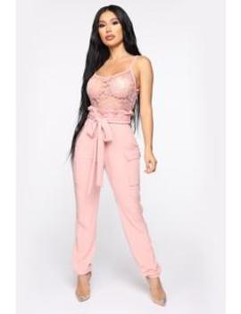 Quinn Paperbag Jumpsuit   Mauve by Fashion Nova