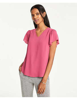 V Neck Flutter Sleeve Tee by Ann Taylor