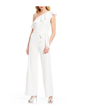 Crepe One Shoulder Tie Waist Jumpsuit by Adrianna Papell
