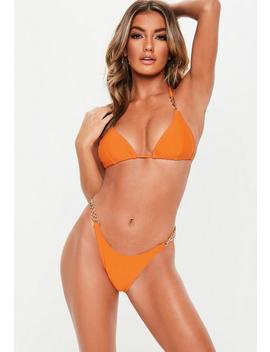 Orange Chain Triangle Bikini Top by Missguided