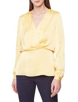 Miranda Satin Surplice Blouse by Reiss