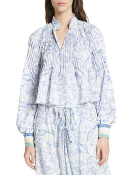 Isa Toile Print Ribbed Cuff Top by Tibi