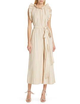 Simka Metallic Stripe Ruffle Trim Jumpsuit by Ulla Johnson