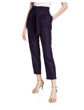 Paperbag High Waist Linen Pants by Max Studio