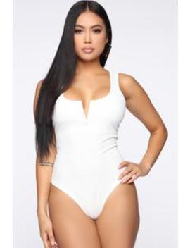 Double The Trouble Bodysuit   White by Fashion Nova