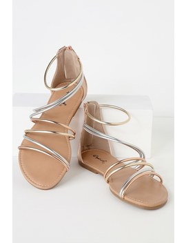 Charlissa Rose Gold Flat Gladiator Sandals by Lulu's