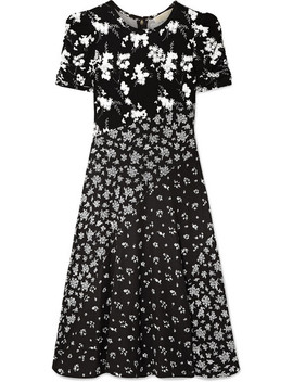 Embellished Paneled Floral Print Stretch Knit Dress by Michael Michael Kors