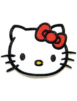 Hello Kitty Cartoon Patch (Red Bow)Embroidered Iron On Hat Jacket Hoodie Backpack Ideal For Gift/ 7.5cm(W) X 5.5cm(H) by Think Patch Cartoon