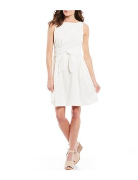 Sleeveless Eyelet Lace Tie Waist Fit And Flare Dress by Vince Camuto