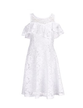 Big Girls 7 16 Cold Shoulder Lace Fit And Flare Dress by Bonnie Jean