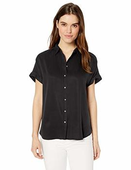 Daily Ritual Women's Tencel Short Sleeve Button Up Shirt by Daily Ritual