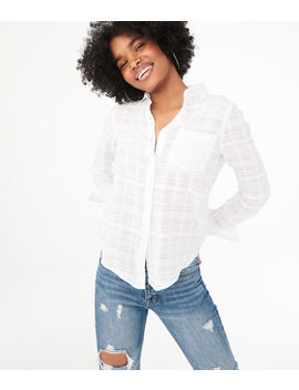 Long Sleeve Textured Button Down Shirt by Aeropostale