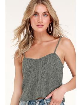 Nell Heather Olive Green Knit Crop Top by Lulus