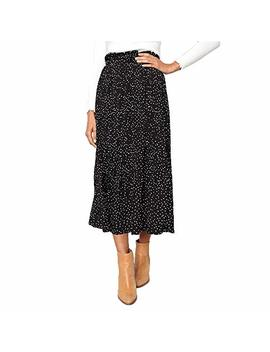 Exlura Womens High Waist Polka Dot Pleated Skirt Midi Swing Skirt With Pockets by Exlura