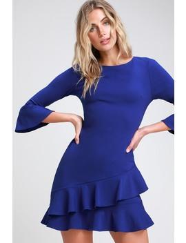 Sensational Statement Royal Blue Ruffled Bodycon Dress by Lulus