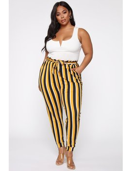 Why The Change Paperbag Jogger   Mustard/Combo by Fashion Nova