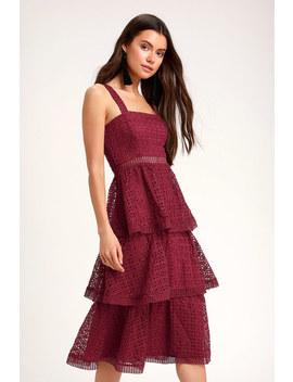 Outstanding Burgundy Crochet Lace Ruffled Midi Dress by Lulus