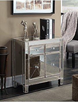 Convenience Concepts Gold Coast Vineyard 2 Drawer Mirrored Cabinet, Weathered White by Convenience Concepts