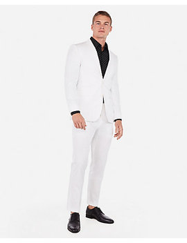 Slim White Cotton Blend Stretch Suit by Express
