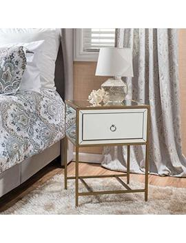 Essa Mirrored Gold Single Drawer Side Table by Christopher Knight Home