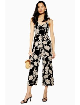 Tall London Contrast Stencil Floral Jumpsuit by Topshop