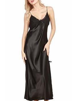 Iooho Women's Satin Nightgown Long Slip Sleeveless Sleepwear Night Dress Sexy Night Wear For Women by Iooho
