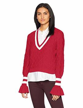 The Fifth Label Women's Graduate V Neck Collegiate Stripe Knit Bell Sleeve Sweater by The Fifth Label