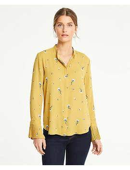 Botanical Pleated Cuff Blouse by Ann Taylor