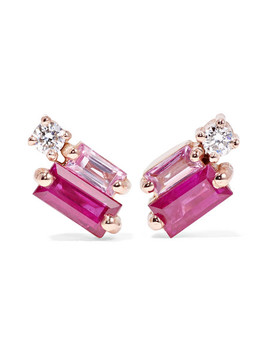 18 Karat Rose Gold, Diamond And Sapphire Earrings by Suzanne Kalan
