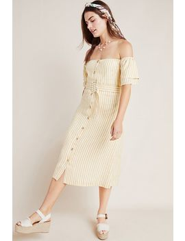 Linen Off The Shoulder Dress by First Monday