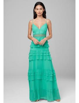 Lace Inset Ruffled Gown by Bebe
