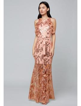 Sequin Ruffled Gown by Bebe