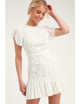 Ivy White Ruffled Mini Dress by Ryse