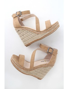 Fiona Light Tan Nubuck Espadrille Wedges by Lulu's
