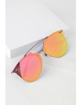 The Benz Pink Mirrored Aviator Sunglasses by Prive Revaux