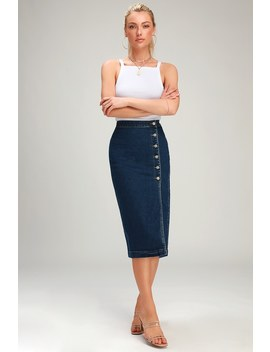 Jasmine Dark Wash Buttoned Midi Skirt by Free People