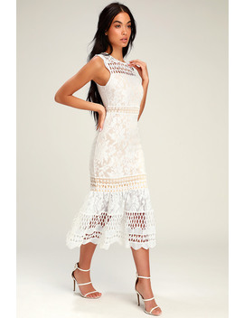 Charlee White Lace Sleeveless Midi Dress by Lulus