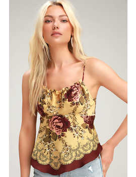 Dance All Night Golden Yellow Floral Print Tie Back Cami Top by Free People