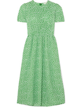 Pleated Printed Crepe Midi Dress by Michael Michael Kors