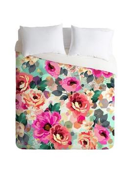 Pink Marta Barragan Camarasa Abstract Geometrical Flowers Duvet Cover Set (King)   Deny Designs® by Deny Designs®