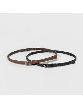 Women's Laser Cut 2 For 1 Belts   Universal Thread Black/Brown by Universal Thread Black/Brown