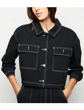 Cameo Rose Black Contrast Stitch Jacket by New Look