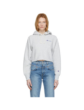 Grey Small Script Logo Cropped Hoodie by Champion Reverse Weave