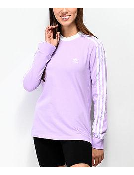 Adidas 3 Stripe Purple Glow Long Sleeve T Shirt by Adidas