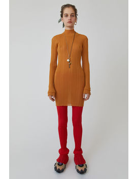 Ribbed Knit Dress Toffee Brown by Acne Studios