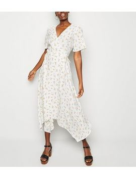 White Ditsy Floral Hanky Hem Wrap Midi Dress by New Look