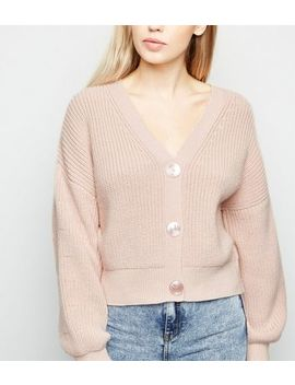 Pale Pink Button Front Cardigan by New Look
