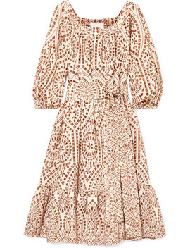 Laure Belted Embroidered Broderie Anglaise Cotton Midi Dress by Lisa Marie Fernandez