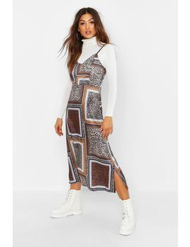 Mixed Leopard Print Slip Dress by Boohoo