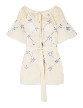 Hans Smocked Embroidered Linen Mini Dress by Innika Choo